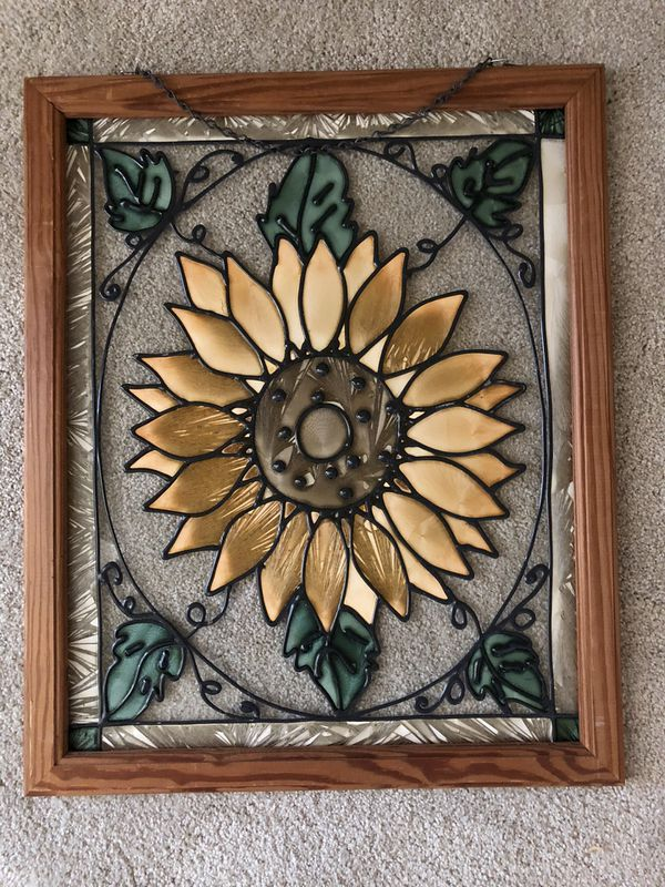 Daisy Flower Vintage Plastic Art on Glass Framed. 23 inches tall by 18 inches wide.