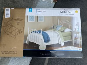 Mainstays Twin Metal Bed In White for Sale in Lancaster, PA