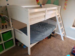 Ikea Wood Twin Bunk Bed - White convertible for Sale in Renton, WA