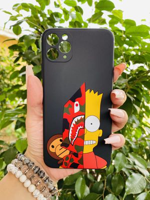 Brand new cool iphone 11 PRO MAX 6.5 cover phone case rubber silicone BAPE SHARK BART SIMPSON COLLAB girls guys womens mens hypebeast hype fundas for Sale in San Bernardino, CA