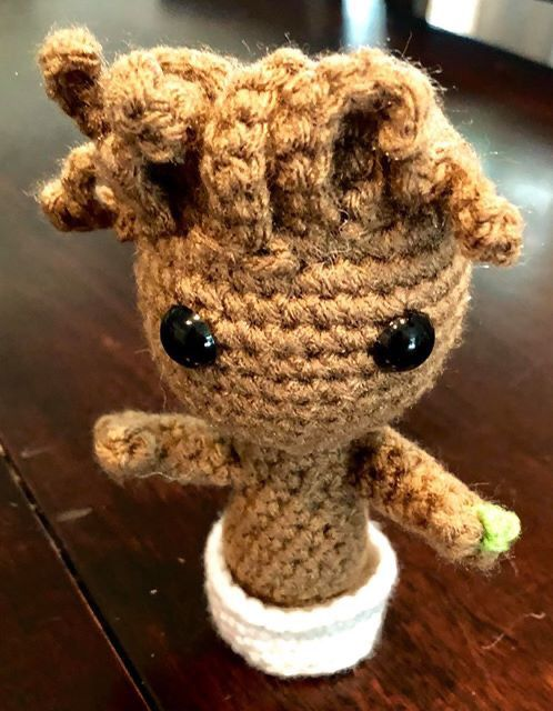 Handmade Baby Groot crocheted in pot! (Up for trade)