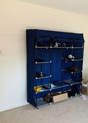 Portable closet storage organizer wardrobe clothes rack for Sale in Burlington, MA