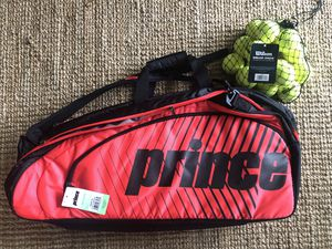 New! Prince Tour Challenger Bag Black/Red w/ 16 new practice balls for Sale in Seattle, WA