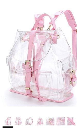 5 Clear Backpack Girls Clear Transparent Plastic PVC Bag Travel Beach Outdoor Daypack for Sale in Elkridge, MD
