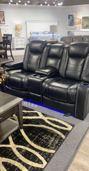 ➡️$39 Down 🍺No İNTEREST      Party Time Midnight LED Power Reclining Loveseat with Adjustable Headrest 156 for Sale in Elkridge, MD