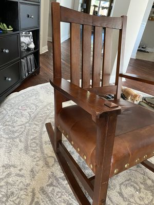 Wooden Leather Rocking Chair for Sale in Frisco, TX