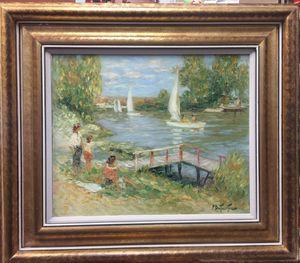 "Pierre Eugene Duteurtre ""Bords de Seine"" Painting on Canvas 28""H x 32""W for Sale in Miami, FL"