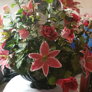 Large Artificial Flower Display W/ Pottery Vase for Sale in Broomfield, CO