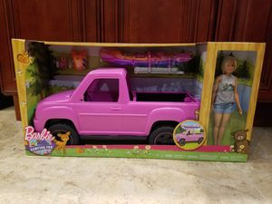 Barbie Camping Fun Doll, Pink Truck and Sea Kayak Adventure Playset for Sale in Garland, TX