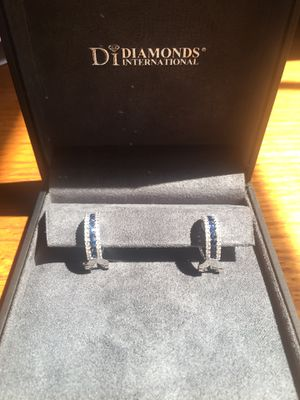 One pair of 14k White gold diamond and sapphire earrings for Sale in Brookline, NH
