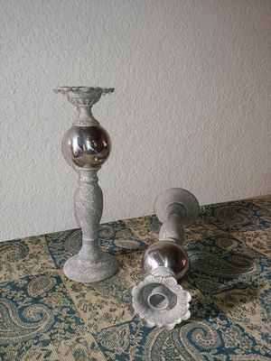 "Taper candle holders, gray/cream mottled color, 12"" h. for Sale in Riverside, CA"