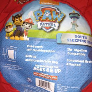 Paw Patrol Youth Sleeping Bag. Clean, No Stains Or Rips for Sale in Mather, CA