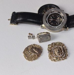 2 chains w/ diamond charms 1 diamond ring 2 diamond earrings 1 gold watch 1 diamond watch for Sale in Pittsburgh, PA