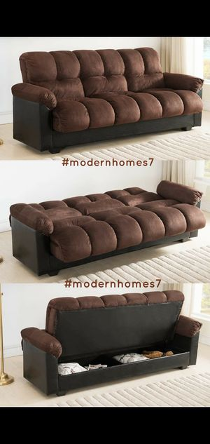 Dark brown sofa bed sleeper couch futon with large storage for Sale in Buena Park, CA