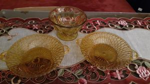 Vintage Amber diamond pattern candy / relish dishes with handles and a heavy pedestal bowl. for Sale in Kingsley, PA