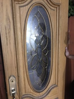 Used Solid Oak BALDWIN Double Front Doors with Stained Glass Windows for Sale in Los Angeles, CA