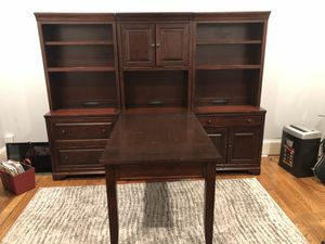 Executive desk set with dual peninsula/partner desk, bookcase, and file cabinet! for Sale in Raleigh, NC