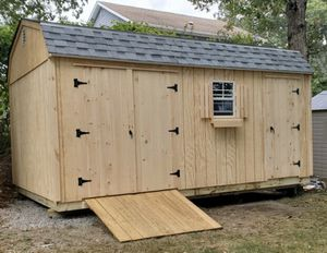 New 10' x 16' T1-11 Gambrel Shed with Gray Shingles for Sale in Rehoboth, MA