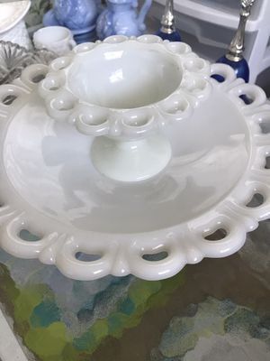 MOVING 2-A/H Old Colony Open Lace milk glass pieces. $20.00, Pickup for Sale in Bradenton, FL