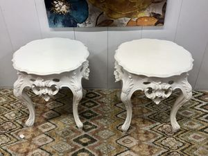 Stunning French Provincial Style White Pair of PolRay Side Table for Sale in Boynton Beach, FL