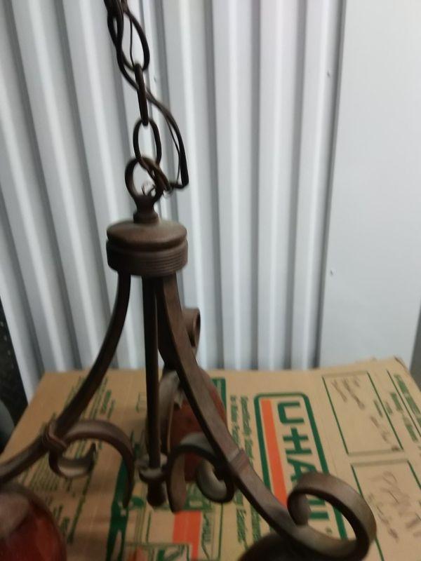 Chandelier light fixture Brown wrought iron metal