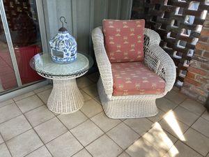 White wicker sofa, chair and tables for Sale in Boynton Beach, FL