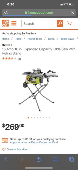 Ryobi table saw for Sale in Del Valle, TX