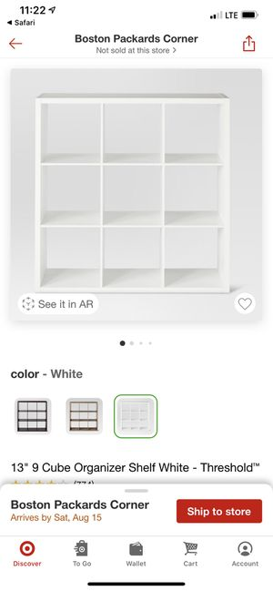 Threshold White 9 Cube Organizer w/ 6 bins included for Sale in Brookline, MA