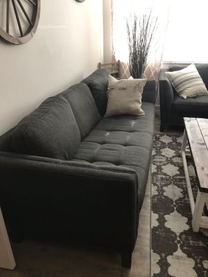 Dark gray tweed matching couches (2) for Sale in Tampa, FL