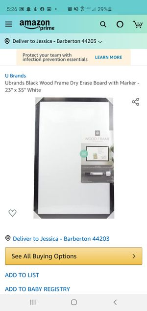 """Ubrands Black Wood Frame Dry Erase Board with Marker - 23"""" x 35"""" White for Sale in Akron, OH"""