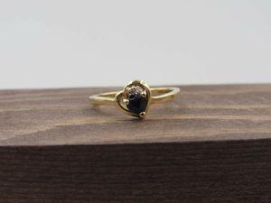 Size 6.25 10K Yellow Gold Blue Topaz & Diamond Heart Band Ring Vintage Estate Wedding Engagement Anniversary Gift Idea Beautiful Elegant for Sale in Everett, WA