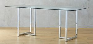 """CB2 SILVERADO CHROME 72"""" RECTANGULAR DINING TABLE WITH GLASS TOP for Sale in Coral Gables, FL"""