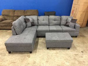 NEW gray sectional couch with ottoman and two pillows on sealed original packaging Never open From business Delivery 🚚 for Sale in Vancouver, WA
