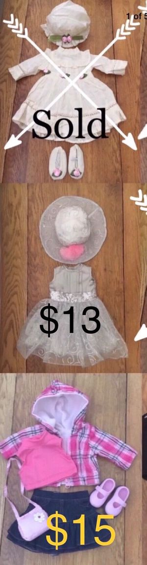 """Complete Outfits for 18"""" Dolls; American Girl, Journey, Battat etc. The Queen's Treasure Brand Prices in Photo #1 for Sale in Las Vegas, NV"""