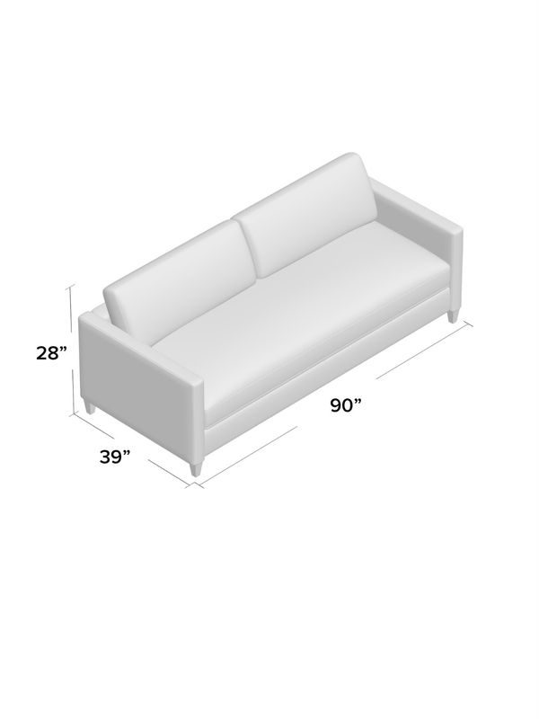 "White Square Arm Couch 90"" US Made"