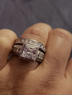 18K/925 Stamped Sterling silver Sapphire Engagement/Wedding Ring Size 8 for Sale in Washington, DC