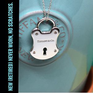 New Tiffany & Co. Large Silver Diamonds Emblem Lock Pendant for Sale in Keller, TX
