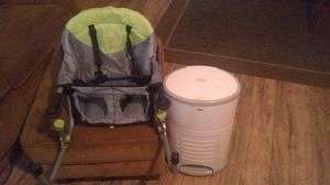Diaper pail and travel high chair for Sale in Pompano Beach, FL