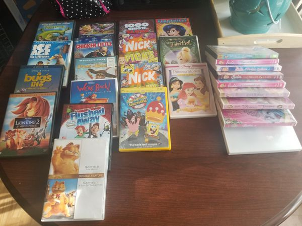 CHILDREN'S DVD'S AND DVD WIRE RACK