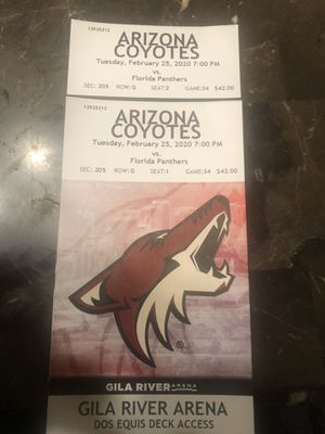 Coyotes vs Panthers 2 Upper Level Tickets $30$ each for Sale in Glendale, AZ