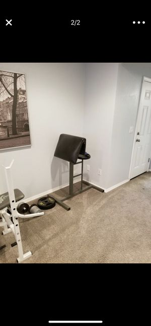 Bench press set 200lbs + of weights. 80$ for Sale in Portland, OR