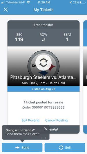 Atlanta Falcons Vs. Pittsburgh Steelers IN PITTSBURGH for Sale in Atlanta, GA