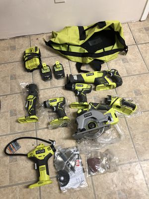Ryobi 6 piece set with extra power inflator and drill bit set for Sale in St. Petersburg, FL