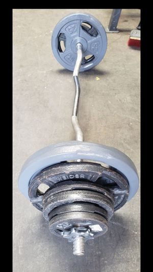 Standard curl bar with weights for Sale in Anaheim, CA