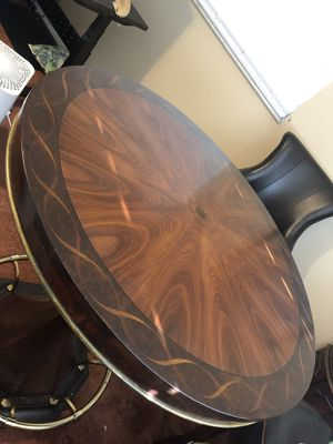 Wooden pub table with gold footrest for Sale in Orlando, FL