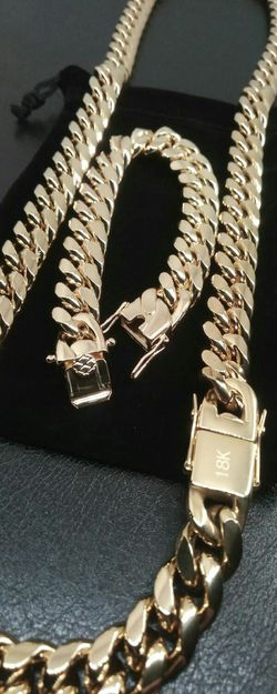 "18k Gold Bonded Stainless Steel 14mm Cuban Link 30"" Chain and 8""or 9"" Bracelet Set Brand New for Sale in Boca Raton,  FL"
