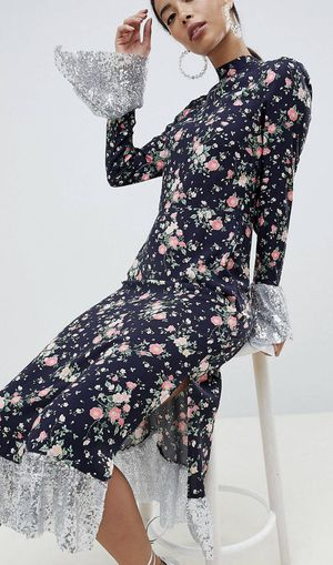 Print Midi Dress with Sequins Hem for Sale in Fremont, CA