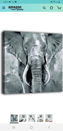 "Elephant Wall Art African Wild Animal Canvas Pictures Modern Artwork Contemporary Abstract Prints for Home Office Bedroom Living Room Decor 16"" x 16"" for Sale in Tustin,  CA"
