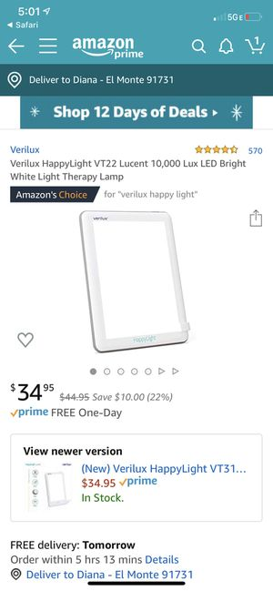Verilux HappyLight VT22 Lucent 10,000 Lux LED Bright White Light Therapy Lamp $25 for Sale in Whittier, CA