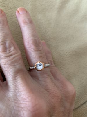 New CZ 1.75 silver and gold wedding ring size 6 for Sale in Palatine, IL